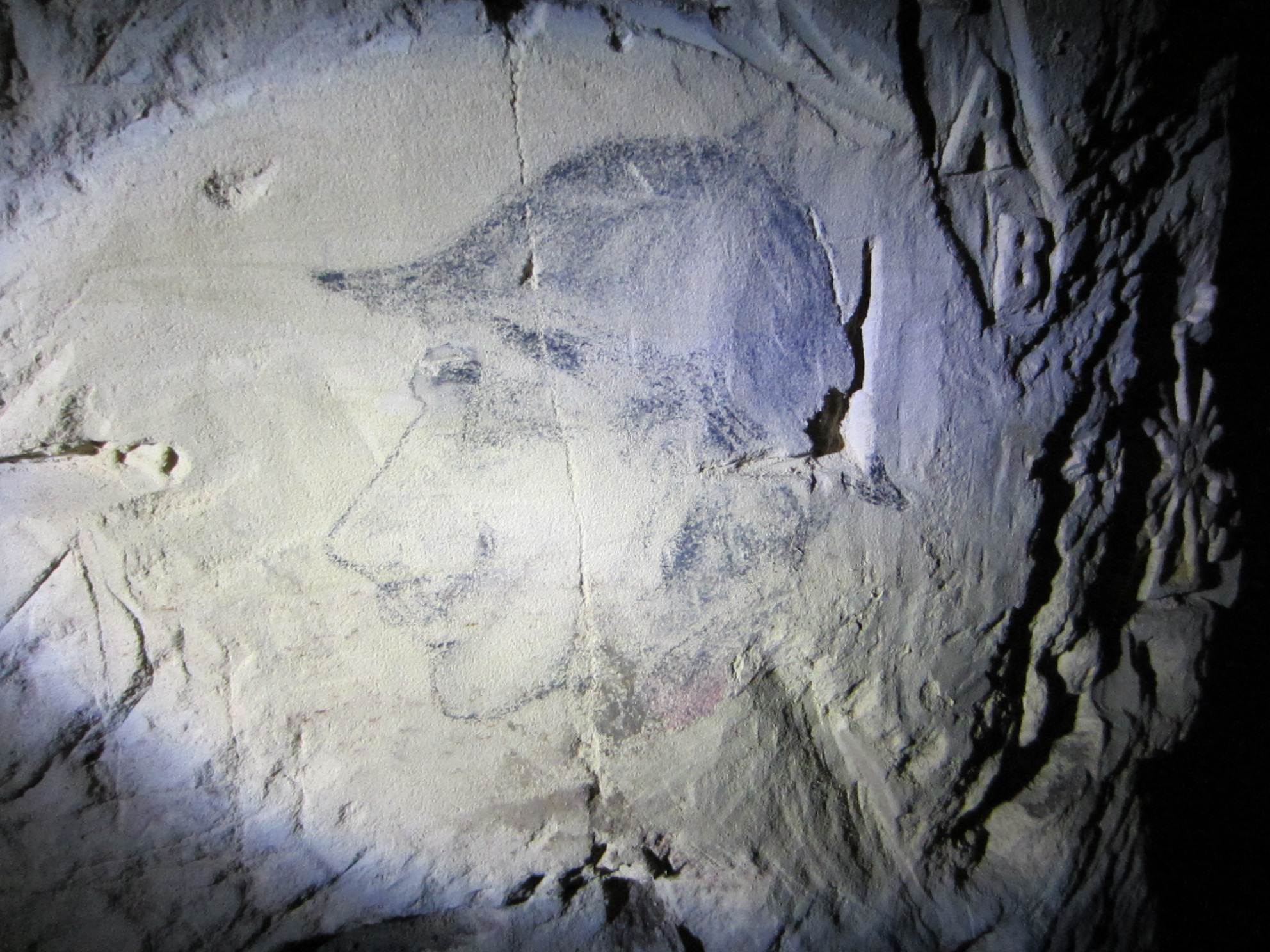 Portrait of a French soldier on a cave wall.