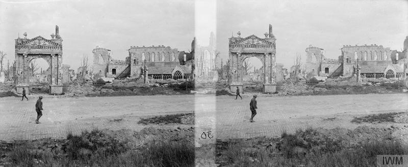 Soldiers in the Ruins of Ypres, September 1917- available under a IWM Non Commercial Licence (Q 11630).