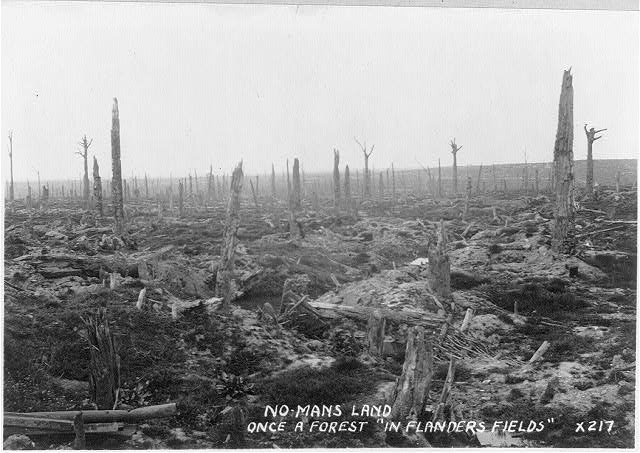 "No Man's Land - once a a forest in ""Flander's Fields"". This image has no known copyright restrictions, available via the Library of Congress. https://www.loc.gov/item/2006677392/"