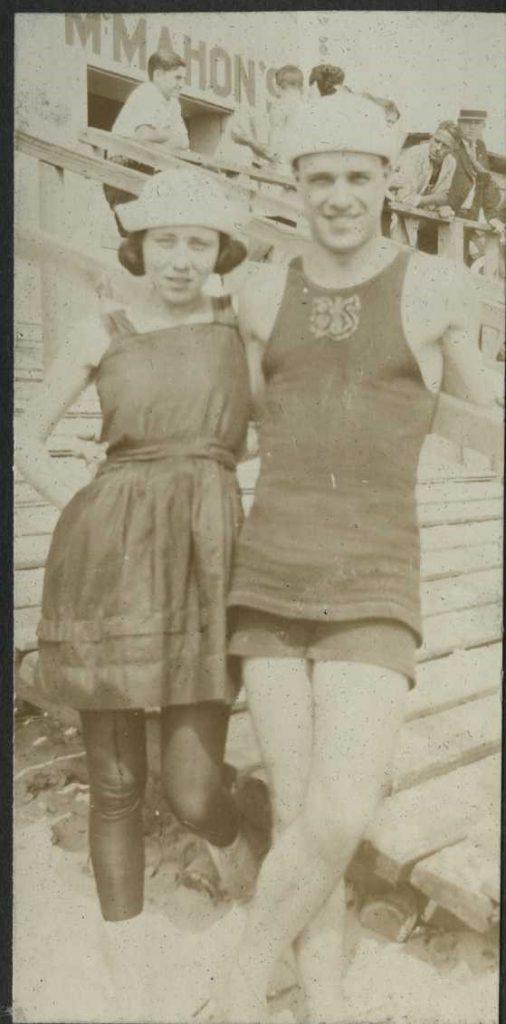 Pisciott and Mae McIntyre at Coney Island after his tour of service.