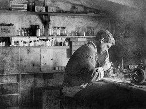 Michael Pease in the camp school biology laboratory